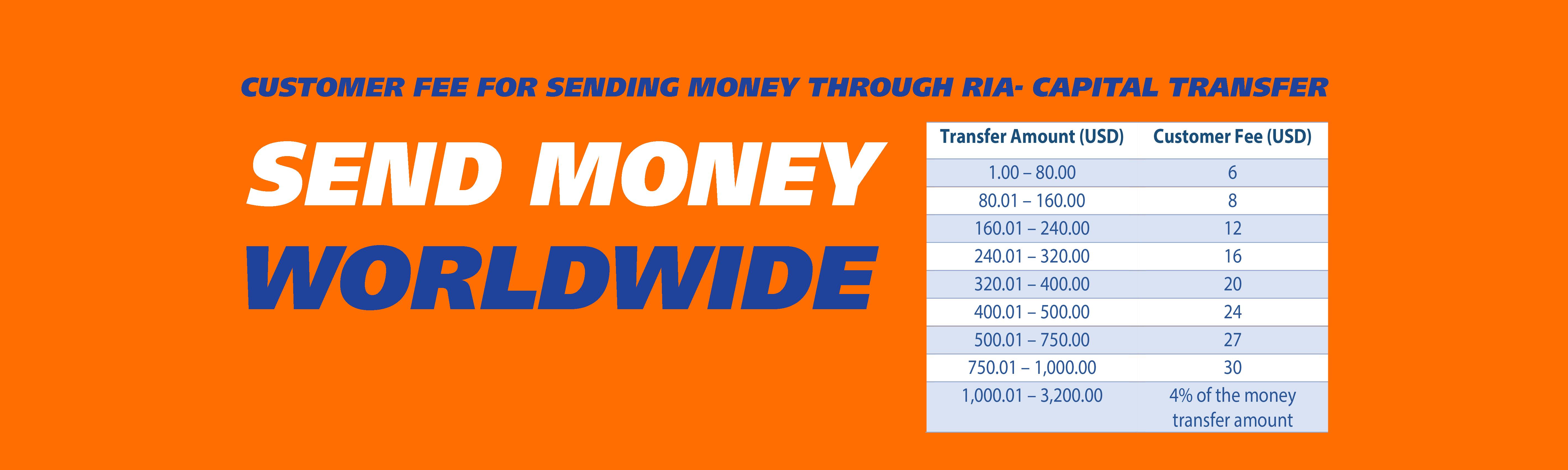 Customer Fee For Sending Money Worldwide